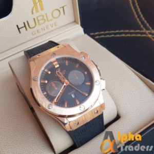 Hublot 882888 Men Leather Analog Watch Amazing Features with Black Leather Band