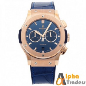 Hublot 582888 Men Leather Analog Watch With Blue Amazing Band And Golden Shade On Dial