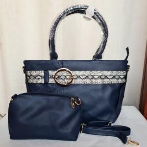 Ladies Leather Hand Bag 2 Piece Blue Color QB00229