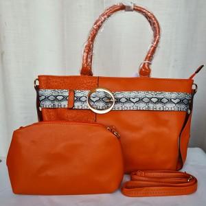 Ladies Leather Hand Bag 2 Piece Orange Color QB00230