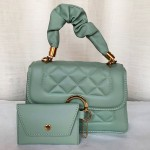Female Hand Bag 2 Piece With Leather Handle C Green Color QB00260