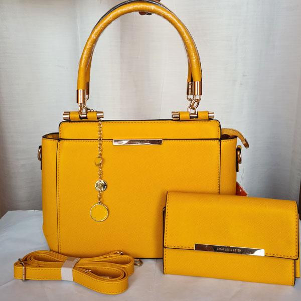 Charles & Keith Ladies Hand Bag 2 Piece Yellow Color QB00231