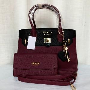 Prada Ladies Hand Bag 2 Piece Purple & Black Color QB00292