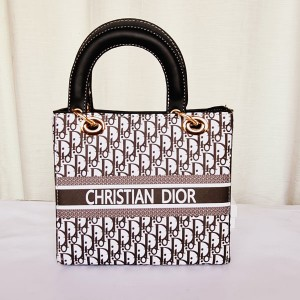 Dior Ladies Stylish Hand Bag Black & White Color QB00202