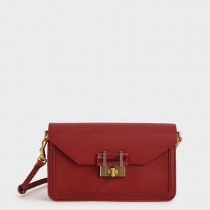 Charles & Keith CK2-80781405 Original Ladies Hand Bag Red Color With Leather Stripe