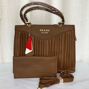 Prada Milano Ladies Hand Bag 2 Piece With Leather Stripe QB00294