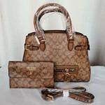 COACH Ladies Hand Bag 2 Piece Brown Color QB00227