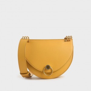 Charles & Keith CK2-80781272 Original Ladies Hand Bag Yellow Color With Leather Stripe