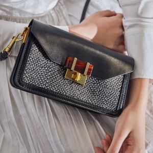 Charles & Keith CK2-80781405 Original Ladies Hand Bag Black Color With Leather Stripe