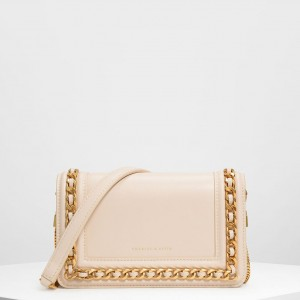 Charles & Keith CK-70840146-1 Original Ladies Hand Bag Off White Color With Leather Stripe