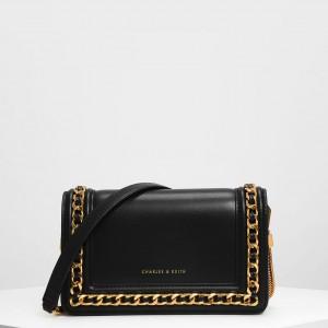 Charles & Keith CK-70840146-1 Original Ladies Hand Bag Black Color With Leather Stripe