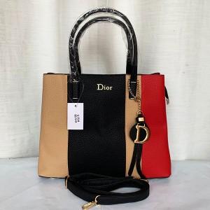 Dior Ladies Hand Bag 2 Piece With Leather Stripe Multi Color QB00297