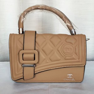 Chanel Girls Hand Bag With Long Stripe Brown Color QB00252
