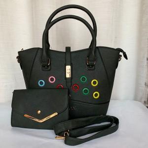 Guess Ladies Hand Bag 2 Piece Green Color QB00245
