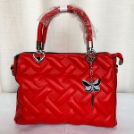 Female Hand Bag Butterfly Design With Leather Stripe Red Color QB00265