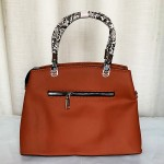 Female Stylish Hand Bag With Leather Stripe Brown Color QB00268