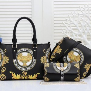 Versace Ladies Hand Bag 3 Piece Black Color QB00223