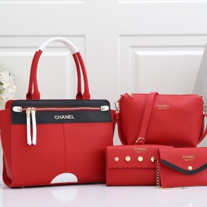 Chanel Ladies Hand Bag 4 Piece Red Color QB00218