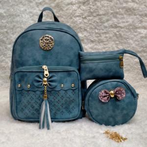 Shoulder Bags For Girls Light Green Color 3 Piece QB00114