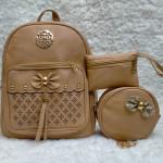 Shoulder Bags For Girls Light Brown Color 3 Piece QB00112