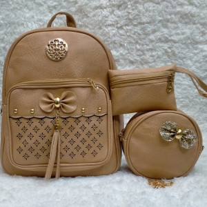 Shoulder Bags For Girls Light Brown Color 3 Piece QB00112