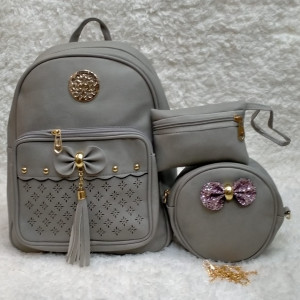 Shoulder Bags For Girls Grey Color 3 Piece QB00111