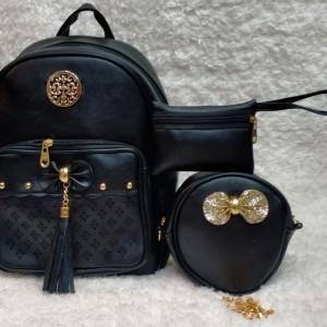 Shoulder Bags For Girls Black Color 3 Piece QB00110
