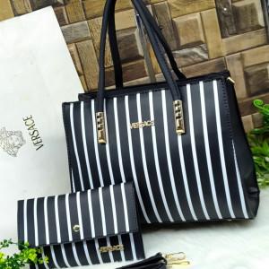 Versace Ladies Bag 2 Piece Black Color With White Lines QB00108