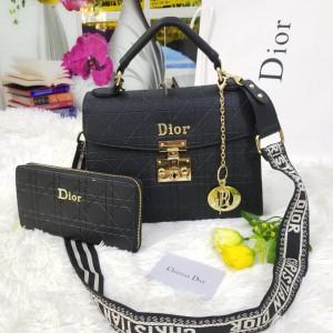 Dior Ladies Bag 2 Piece Black Color QB00124