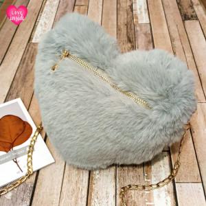 Ladies Shoulder Bag Love Style Grey Color QB00143