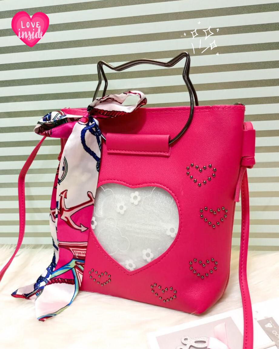 Kitti Hand Bags For Girls Pink Color QB00119