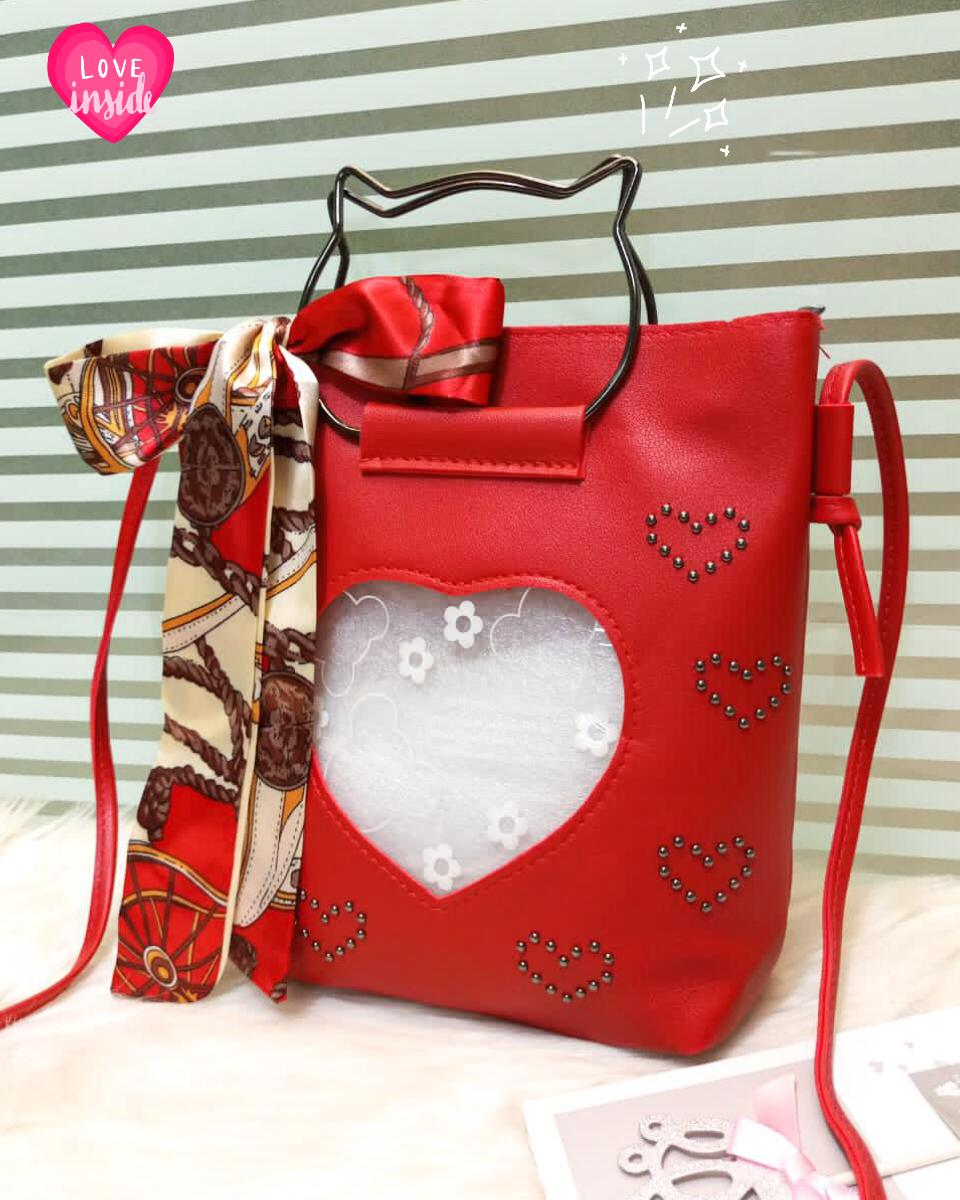 Kitti Hand Bags For Girls Red Color QB00118