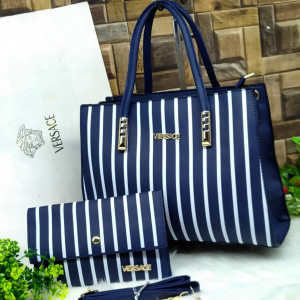 Versace Ladies Bag 2 Piece Blue Color With White Lines QB00109