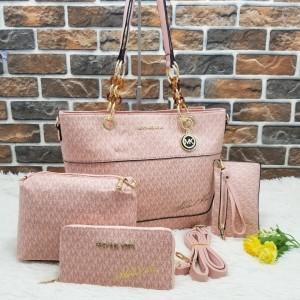 Michael Kors Ladies Hand Bag 4 Piece Branded Bag With Leather Stripe QB00301