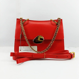 Charles & Keich Ladies Shoulder Bag With Chain & Leather Stripe QB00369