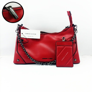 Charles & Keich Ladies Shoulder Bag With Chain &  Leather Stripe QB00374