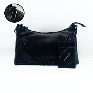 Charles & Keich Ladies Shoulder Bag With Chain &  Leather Stripe QB00375