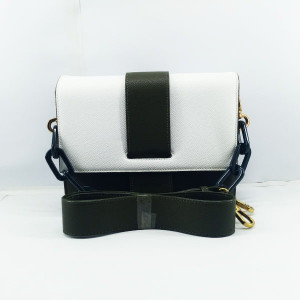 Charles & Keich Ladies Shoulder Bag With Chain &  Leather Stripe QB00376