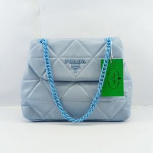 Prada Ladies Shoulder Bag With Chain & Leather Stripe QB00379