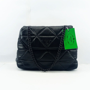 Prada Ladies Shoulder Bag With Chain & Leather Stripe QB00380