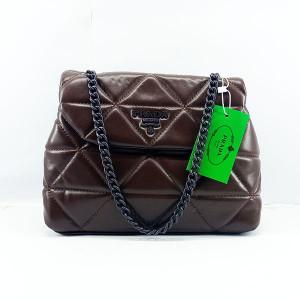 Prada Ladies Shoulder Bag With Chain & Leather Stripe QB00381