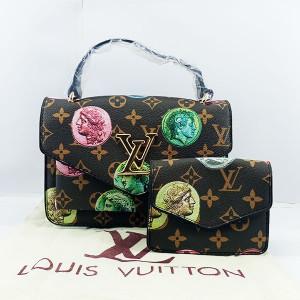 LV Ladies Shoulder Bag 2 Piece With Chain & Leather Handle QB00386