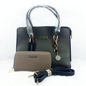 Charles & Keith Ladies Shoulder Bag 2 Piece With Leather Stripe QB00390