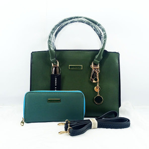 Charles & Keith Ladies Shoulder Bag 2 Piece With Leather Stripe QB00391