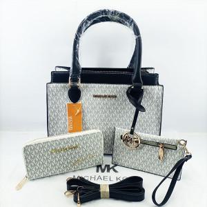 Michael Kors Ladies Hand Bag 3 Piece With Leather Stripe QB00394
