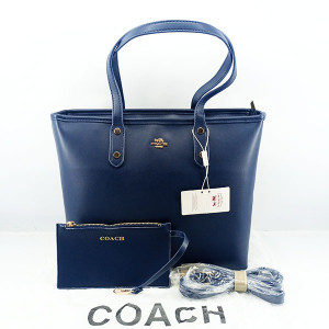 COACH Ladies Shoulder Bag 2 Piece With Warranty Card With Leather Stripe QB00396