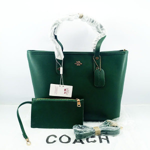 COACH Ladies Shoulder Bag 2 Piece With Warranty Card With Leather Stripe QB00397