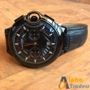 Cartier Black Leather Strap Chronograph Watch