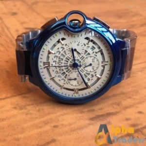 Cartier Blue White Chain Strap Chronograph Watch