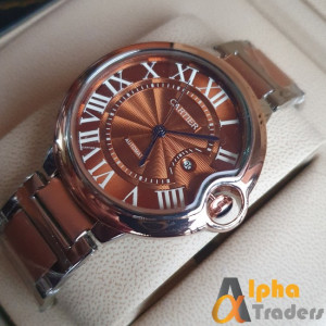 Cartier 3835 watch Silver + Rose Gold chain strap watch